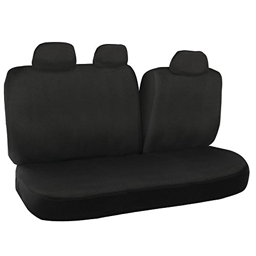 Black 60/40 Split Bench Seat Covers for Car Auto SUV - Polyester Cloth (Rear Seat Covers compare prices)