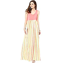 Mamacouture Maternity Neon Stripes Front Knot Long Dress For Women