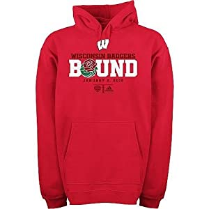 adidas Wisconsin Badgers ESPN Rose Bowl Bound Fleece Hoodie Sweatshirt Small adi by adidas