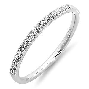 0.15 Carat (ctw) 14K White Gold Diamond Ladies Dainty Anniversary Wedding Stackable Band (Size 8)