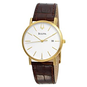 Bulova Men's 97B100 Strap White Dial Watch by Bulova