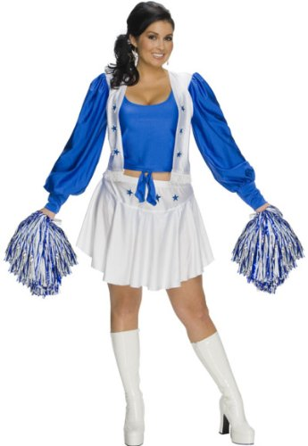 [Womens Plus-Size Secret Wishes Full Figure Dallas Cowboy Cheerleader Costume, Blue/White, One Size] (Dallas Cowboys Cheerleader Adult Plus Costumes)