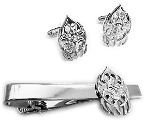 BLADES SKULL Tattoo Biker Harley TIE BAR CLIP CUFFLINKS SET