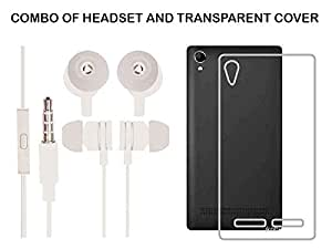 Value Combo Of White Headset And Soft Transparent Clear Back Case Cover For Intex Aqua Power Plus Power+