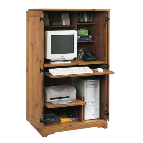 Buy Low Price Comfortable Computer Desk Armoire – Spiced Pine Finish (B0052VP0D4)