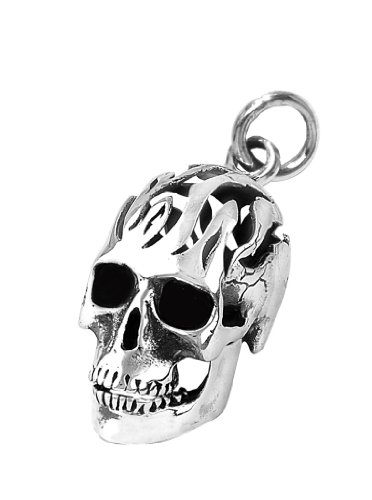 Stainless Steel Gothic Heavy Biker Skull Pendant With Flaming Head (Chain Not Included)