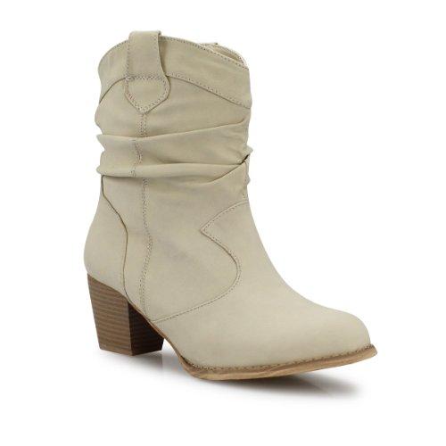Damen Stiefeletten mit Blockabsatz Raffungen Boots Damenstiefel beige camel khaki schwarz weiß beige 36