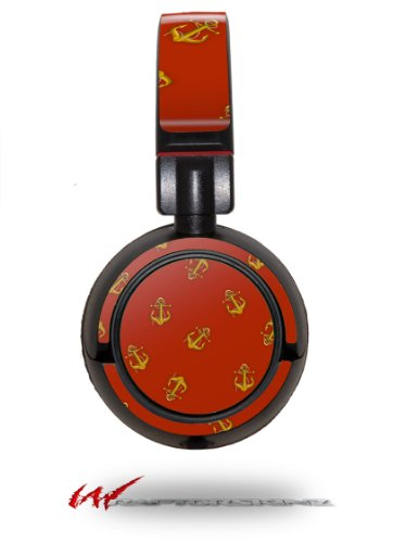 Anchors Away Red Dark - Decal Style Vinyl Skin Fits Sony Mdr Zx100 Headphones (Headphones Not Included)