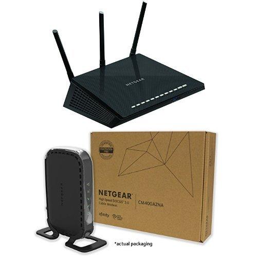 NETGEAR Nighthawk R6700-100NAS AC1750 Smart Dual Band Wi-Fi Gigabit Router and CM400 (8x4) Cable Modem DOCSIS 3.0 (Netgear Modem 450 compare prices)