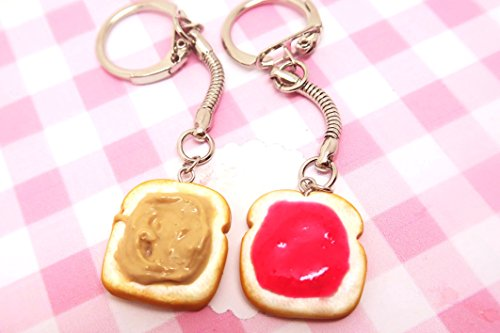 Strawberry jam peanut butter and jelly key chains or necklaces - food jewelry, bff, friendship keychain, bff keychain