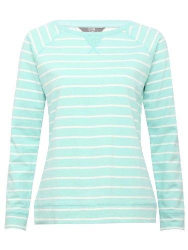 Womens Raglan Striped Long Sleeve Lightweight Cotton Sweatshirt Light Jade 10