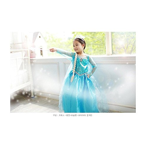 Costume Snow Princess Dress [Elsa Style - Dress+tiara+stick+wig ]