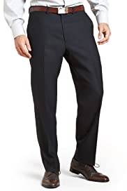 Collezione Luxury Pure Wool Flat Front Textured Trousers [T18-9075C-S]