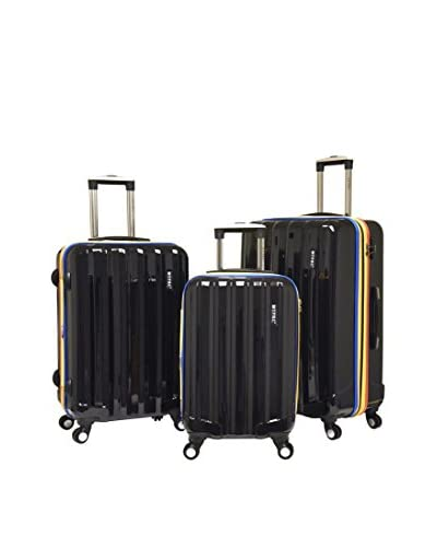Travelers Club 3-Piece Rio Collection Expandable Hardside Spinner Luggage Set, Black