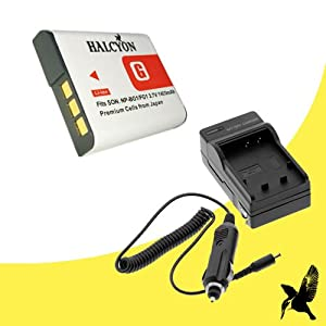Halcyon 1400 mAH Lithium Ion Replacement Battery and Charger Kit for Sony Cyber-shot DSC-W55 7.2 MP Digital Camera and Sony NP-BG1
