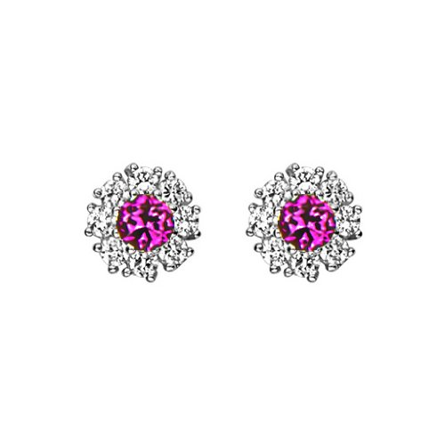 .925 Sterling Silver Rhodium Plated Flower Red CZ Stud Earrings with Screw-back for Children & Women