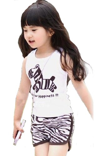 Summer Zebra Shorts Vest Children Suits Girl Suit BGDT-368