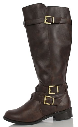 Brown Faux Leather Buckle Knee High Riding Flat Boots Sake 8