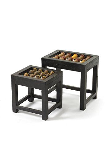 Country Side Table ( Set Of Two ), Black Wood