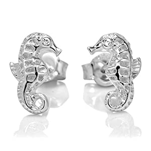 925 Sterling Silver Tiny Seahorse Post Stud Earrings 10 mm Jewelry for Women, Teens, Girls - Nickel Free by Chuvora