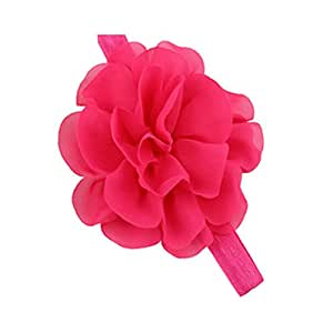 BELLAZAARA Chiffon Silk Flowers Soft Stetch Fushia Pink Headband Baby Girl