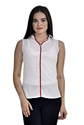 Femninora Off White Color Casual Collar Top