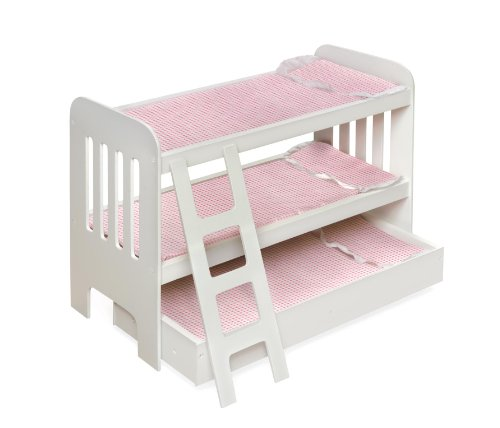 Badger Basket Trundle Doll Bunk Beds With Ladder - Pink/White