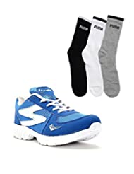 Elligator Blue & White Stylish Sport Shoes With Puma Socks For Men's