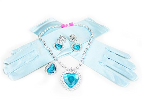 HXL Frozen Elsa Inspired Snow Princess Necklace Earrings Ring Gloves Jewelry Set