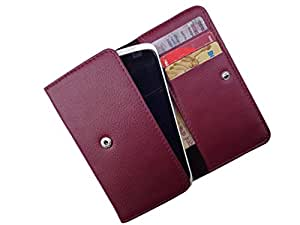 ATV PU Leather Violet RED Pouch Case Flip Cover For Lava A72