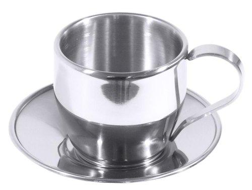 Contacto Bander Tasse à café en inox 0,18 L avec soucoupe
