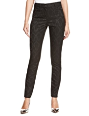 M&S Collection Satin Jacquard Print Denim Jeggings