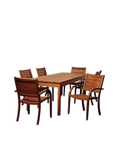 Amazonia Illinois 7-Piece Eucalyptus Rectangular Dining Set, Brown