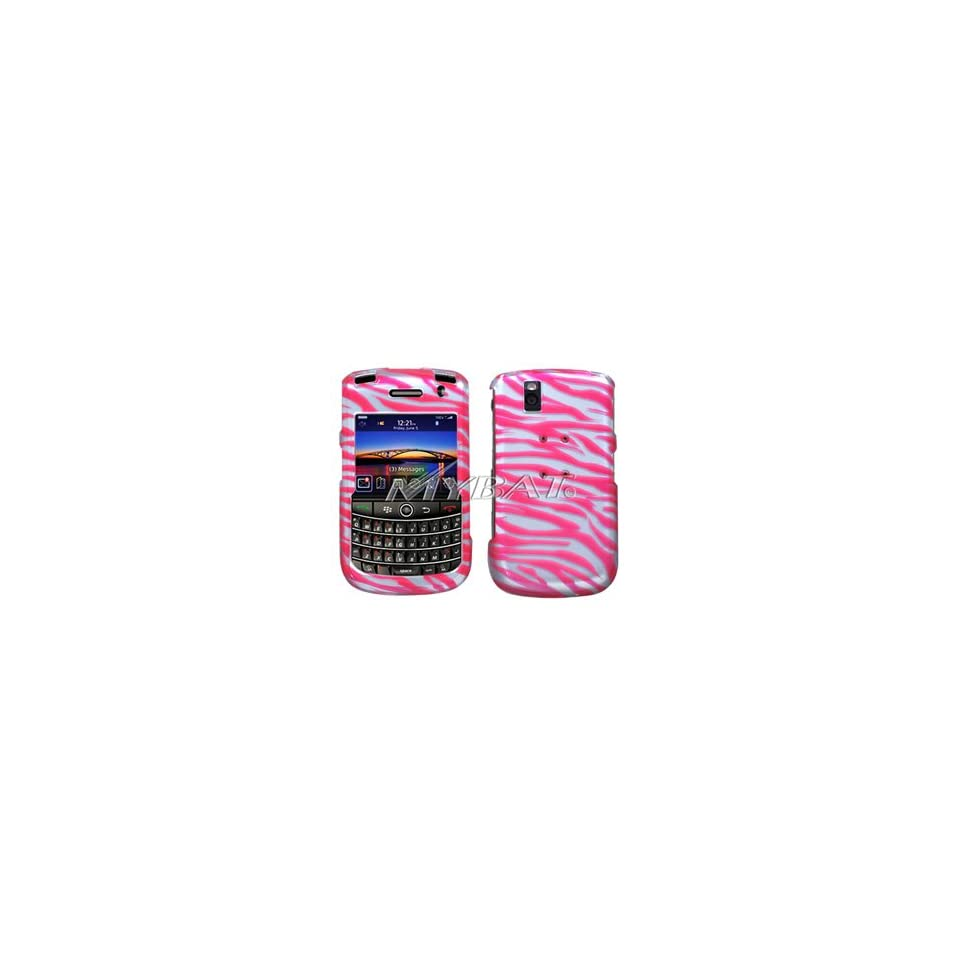 Blackberry 9630 Tour, 9650 Bold 2D Silver Phone Protector Cover, Zebra Skin/Hot Pink