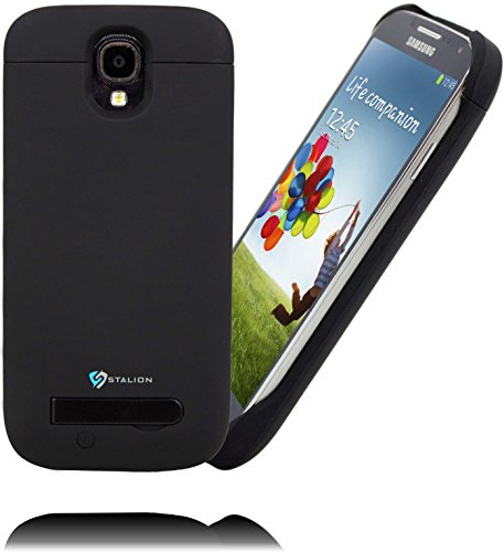 Stalion® Stamina 3000Mah Rechargeable Extended Battery Case For Samsung Galaxy S4 (Matte Black) With Kickstand + Led Charge Indicator Light [24 Month Warranty]