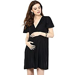 Mamacouture Maternity Short Black Knotted Dress For Women