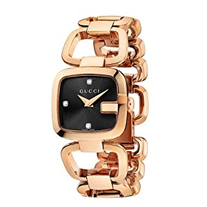 Gucci G-Gucci Collection Women's Quartz Watch with Black Dial Analogue Display and Rose Gold Plated Stainless Steel Bracelet YA125512