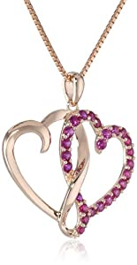"Sterling Silver with Pink Gold Plating Created Ruby Twins Heart Pendant Necklace, 18"" from The Aaron Group - HK DI"