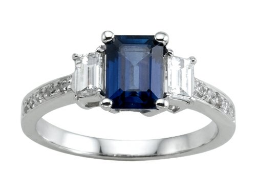Genuine Sapphire Engagement Ring 14 Kt White Gold Size 5.5