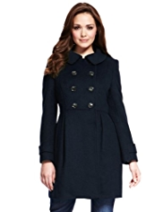 Petite Round Collar Double Breasted Coat with Wool