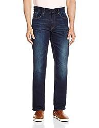 Cherokee Men's Straight Fit Jeans (8907242788944_267695438_32W x 32L_Dk-Blue)