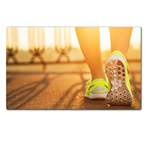 MSD Natural Rubber Large Table Mat IMAGE ID 31878071 Runner woman feet running on road closeup on shoe Female fitness model sunrise jog workout Sports healthy lifestyle c