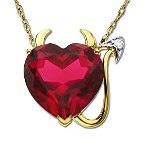 14k Yellow Gold Lab Created Ruby Heart Devil Pendant w/ Diamond Accent, 18