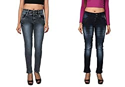 WineGlass Combo of 2 Ankle Fit Womens Stretch Denim Jeans 734DK735DK