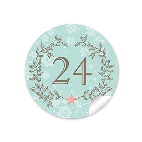 24-adventskalenderzahlen-in-mint-hellturkis-mit-weihnachtskranz-und-zahlen-1-24-im-retro-vintage-loo