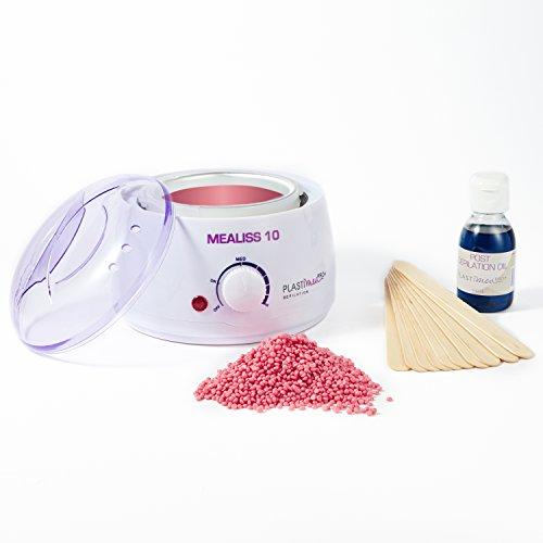 Mealiss-10-Kit-Calentador-de-cera-depilatoria-Calentador-100-W-Cera-rosada-Esptulas-cuerpo-y-rostro-Aceite-calmante-limpiador