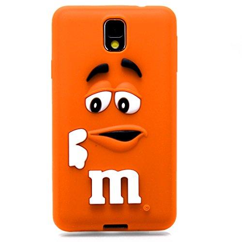 3D morbida in Silicone M M'& M Candy MM, colore: cioccolato, Silicone, arancione, Samsung Galaxy Note 4 SM-N910F SM-N910