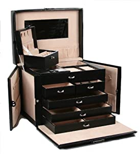 SHINING IMAGE tea2 HUGE BLACK LEATHER JEWELRY BOX / CASE / STORAGE / ORGANIZER WITH TRAVEL CASE AND LOCK