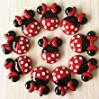 50pcs Minnie Mouse Red Bow Dress Cabochons Resin