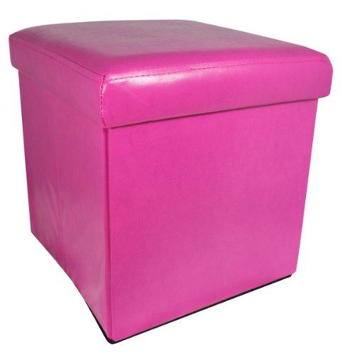 Small Faux Leather Bedroom Ottoman Storage Box -Cream